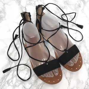 Madewell Bridget Sandals in Black Suede Lace Up